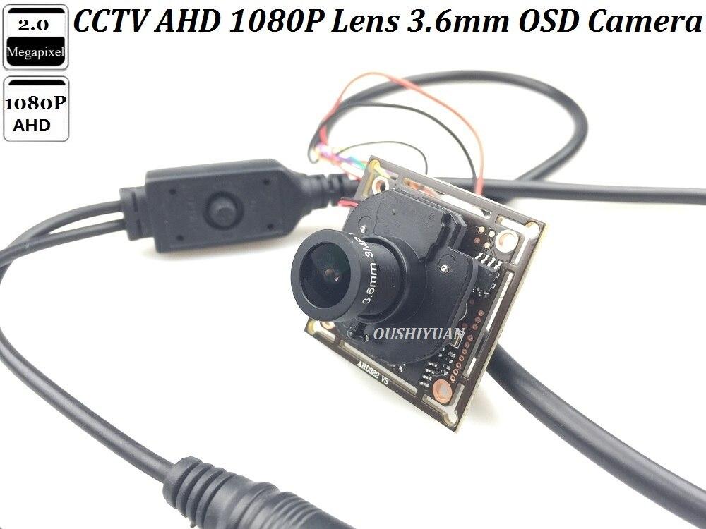 Capteur SONY CCTV IMX 322 + HD-AHD 1080P, objectif 3.6mm IR-CUT OSD Menu CCTV sécurité Mini AHD 2.0MP bricolage caméra