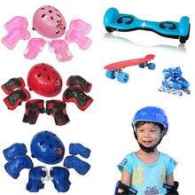 B2 7 adet çocuk çocuk kendini dengeleme bisiklet bisiklet makaralı diz dirsek bilek kask tampon seti kiti toptan ve perakende