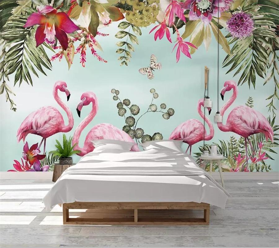 beibehang Custom wallpaper 3d photo mural Nordic ins tropical flamingo background wall living room children room wallpaper mural