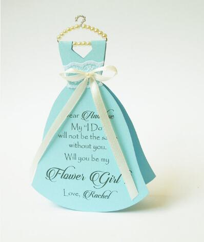 personalized Will you be my bridesmaid maid of honor Proposal Cards wedding Dress invitations Bridal Party gifts favors
