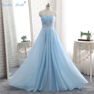 Sapphire Bridal 2020 Spring Collection sky blue Evening Gowns Inspired Pleated Long Formal Evening Dress
