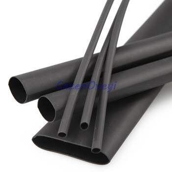 5 unids/lote 5 metros de alta calidad negro 1mm termorretráctil tubo de envoltura de Color negro