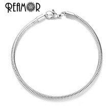 Réamor en vente 5 pièces 316l acier inoxydable homard fermoir Bracelet de base serpent chaînes Fit bricolage européen perle Bracelet fabrication de bijoux