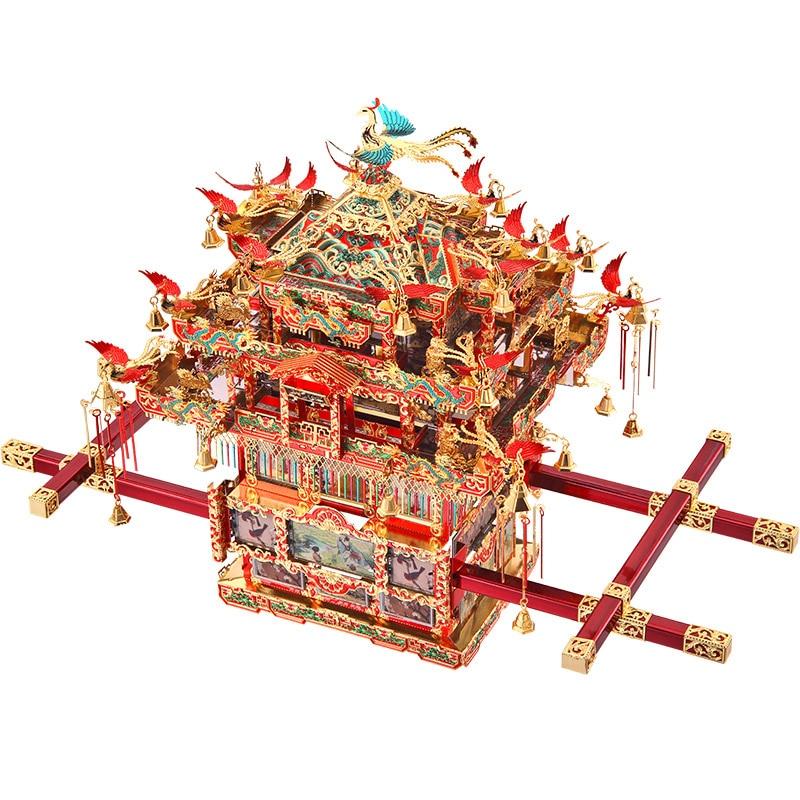 Piececool, silla de Sedán nupcial, Kits de modelos de Metal 3D, rompecabezas de bricolaje, rompecabezas de corte láser, juguetes de construcción, P116-RGN de regalo