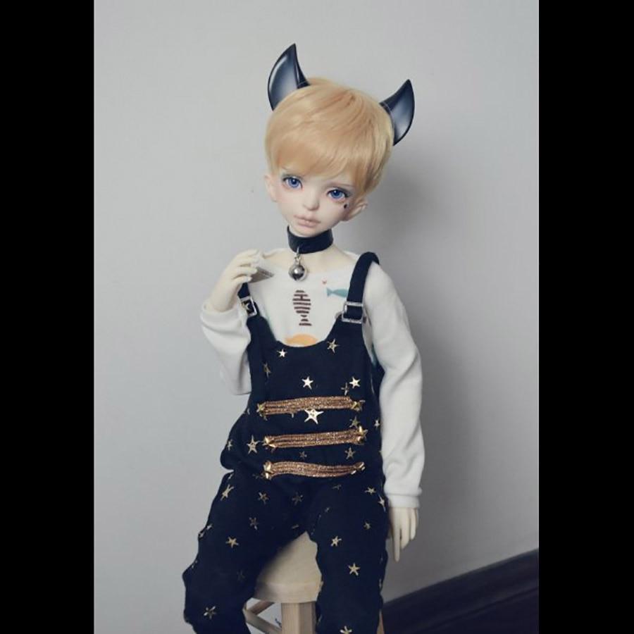 Bybrana msd dz bjd sd dd dddy Roupa da boneca estrela Gato bib suspensórios gato Preto e branco gato Bonito
