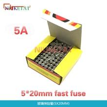 100 pièces/boîte fusible rapide 5*20mm 5A 250V   Fusible rapide 5*20 F5A 5000mA 250V en verre 5mm * 20mm, nouveau et original