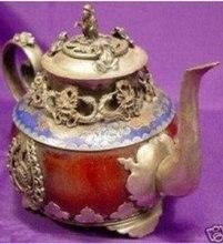 Crafts Arts carving Chinese Rare tibet silver red jade dragon teapot pot monkey  tools wedding Decoration Brass