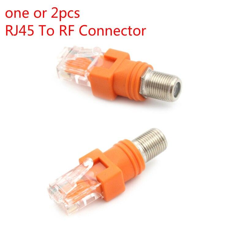 Uno o 2 uds conector tipo F RF hembra a RJ45 macho acoplador de cilindro Coaxial adaptador Coaxial, conector RJ45 a RF