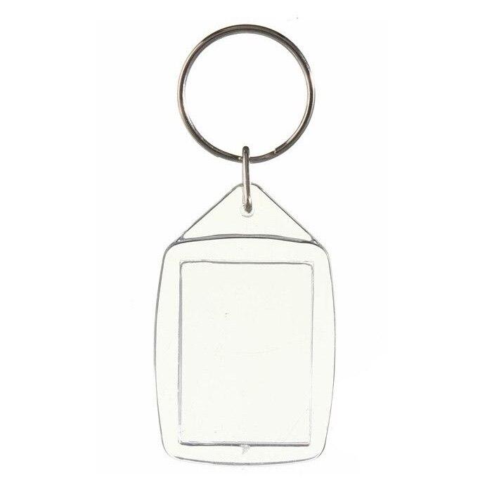 20x plástico acrílico transparente en blanco llaveros insertar pasaporte foto llavero