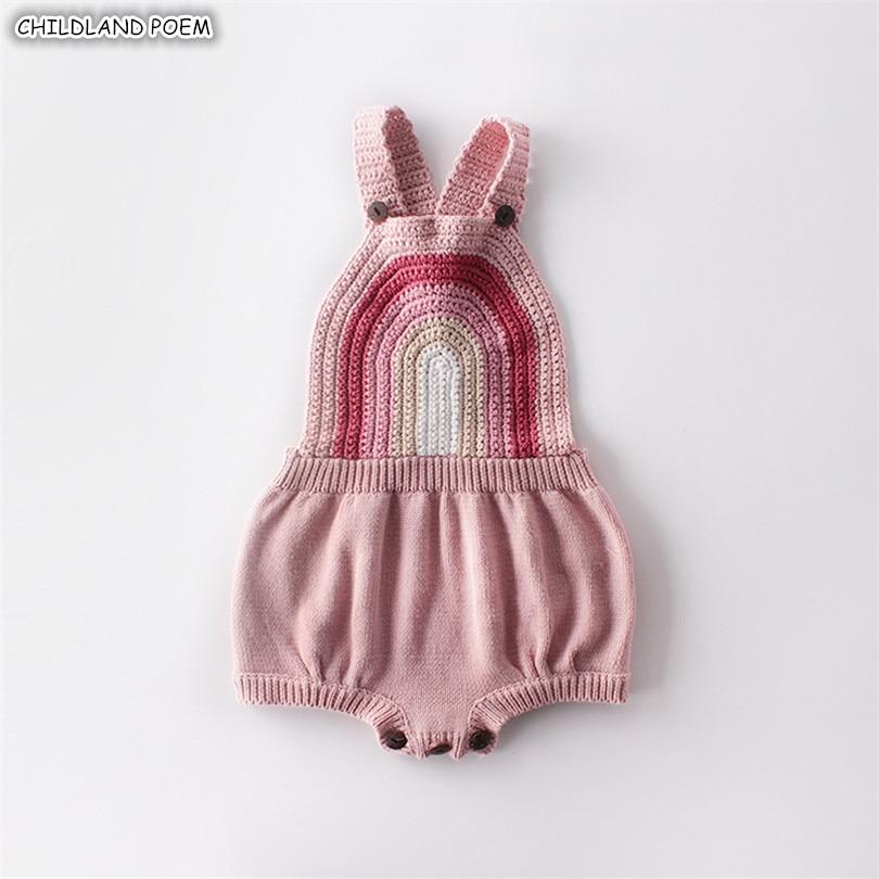 Bebê menina roupas de malha roupas do bebê recém-nascido menina menino macacão sem mangas arco-íris infantil do bebê macacão para a menina