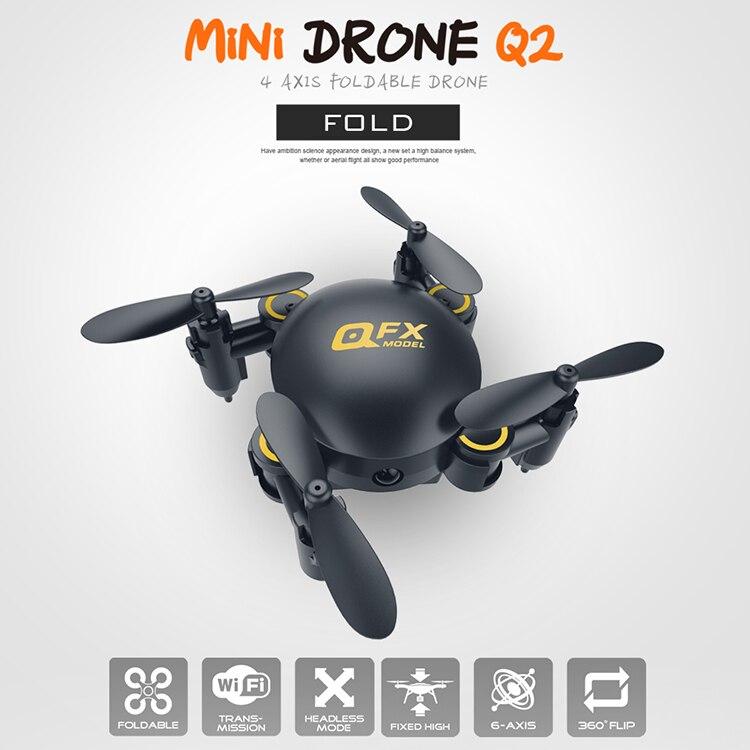 DXF Q2 6 ejes Mini Micro plegable RC Quadcopter Drone WIFI APP Control FPV cámara sin cabeza de presión alta fijación helicóptero AR Drone