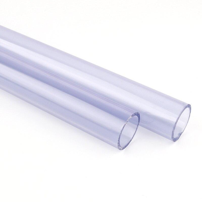 2 uds diámetro exterior 20 25mm Tubo de PVC transparente acuario de tanque de agua accesorios duro tubo upvc jardín de agua tubo longitud 48 ~ 50cm