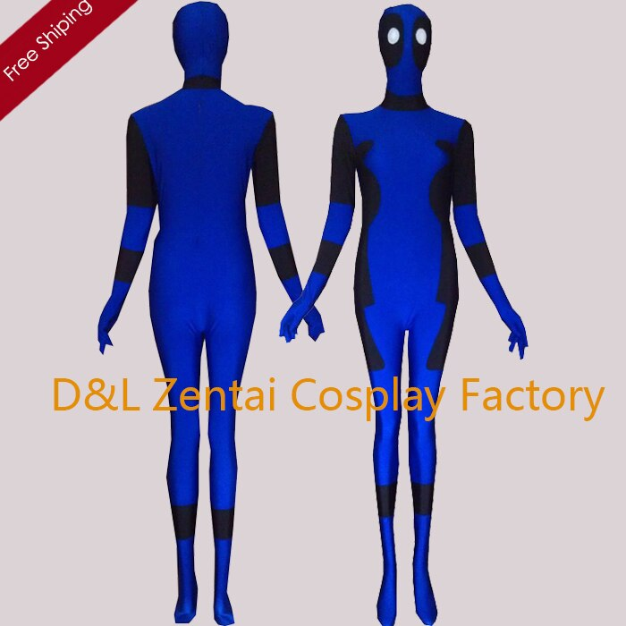 Free Shipping DHL Halloween Costumes For Men Movie Deadpool Cosplay Costume Spandex Lycra Blue Deadpool Superhero Costume DP101