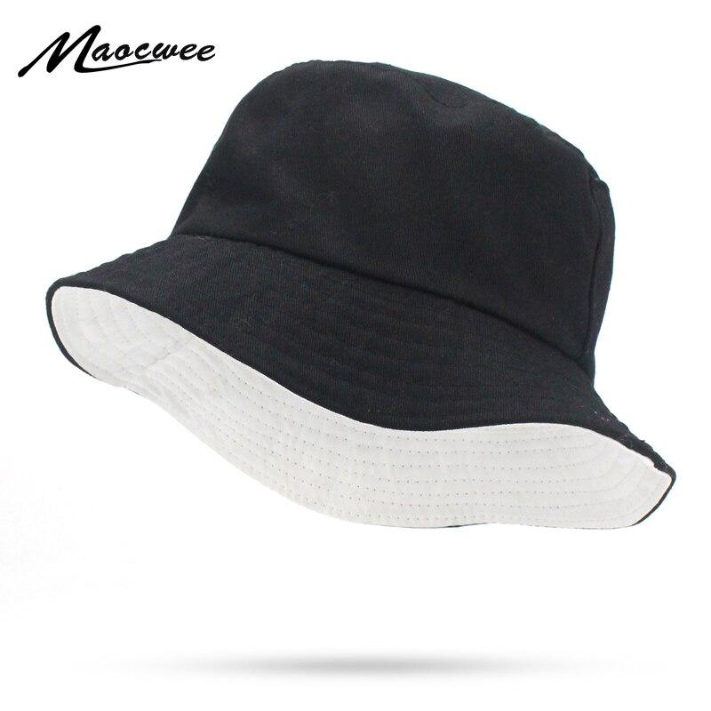 Solid Colors Black White Bucket Hats Women Men Outdoor Bucket Cap Women Hat Unisex Hip Hop Caps Double-sided Fishing Hat