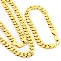 cuban chain set yellow gold filled mens necklace bracelet set 248 3