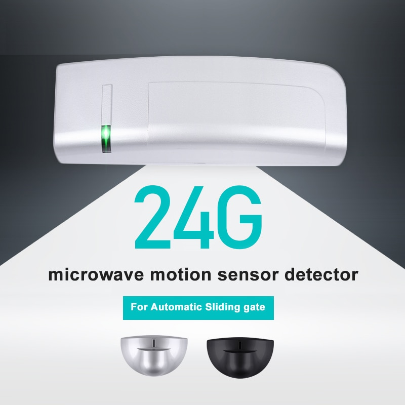 Sensor de movimiento para microondas, accesorios para puerta corredera de cristal, 24.125GHz, negro/plateado