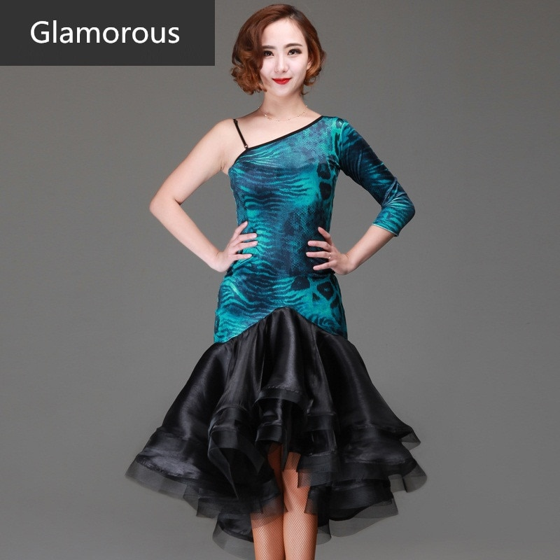 Leopard  vestido de baile latino negro inclinado hombro rayas competencia internacional baile latino vestido de baile cuadrado femenino