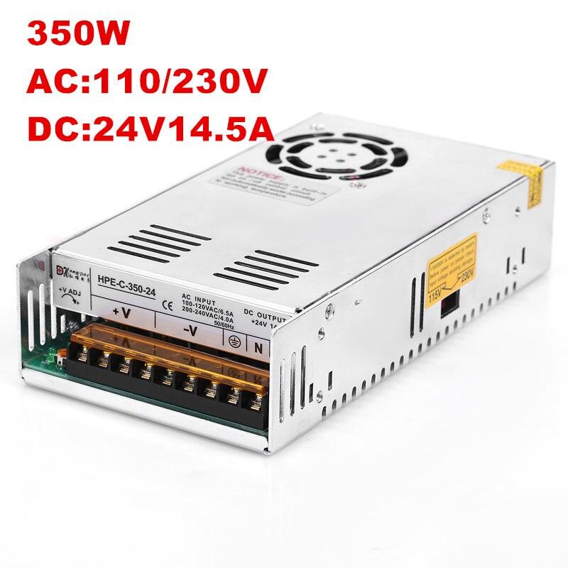 1 Uds 350W 24V14. 6A fuente de alimentación 24V 14.6A 350W Controlador LED AC-DC S-350-24 de alta potencia PSU 350W