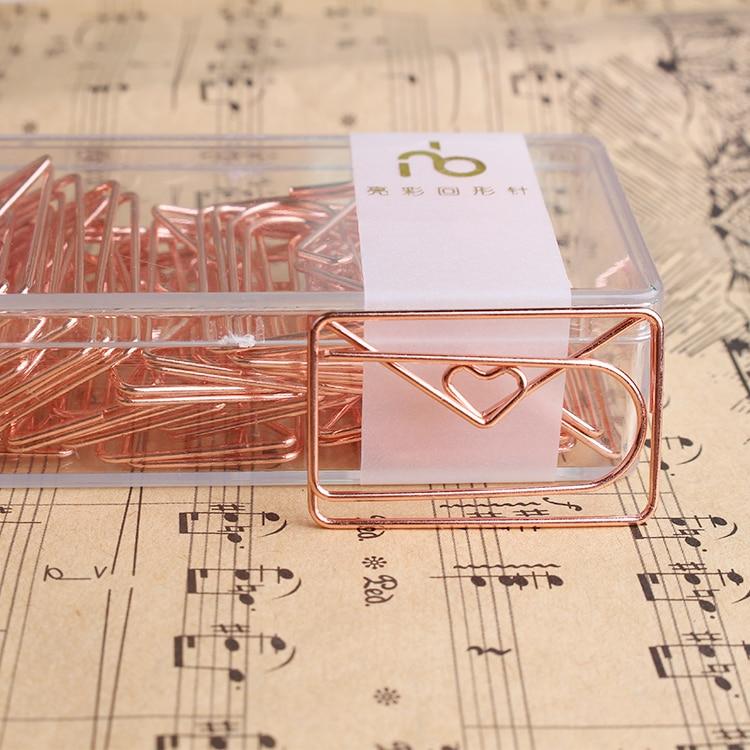Зажим для бумаги в форме конверта из розового золота, модельный зажим, металлические офисные аксессуары, зажимы для бумаги, металлические з...