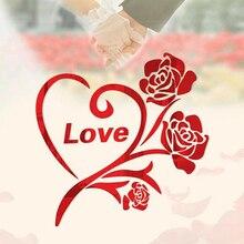 Autocollants muraux miroir Rose fleur amour 3D   100% acrylique, affiche de salon chambre à coucher, décor de maison, décoration artistique murale
