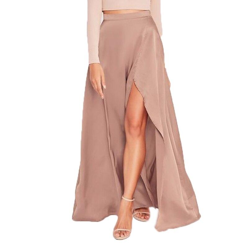 Faldas de moda para las mujeres a la Navidad de seda de gasa Sexy faldas con Split de alta calidad por encargo de la cremallera Maxi falda