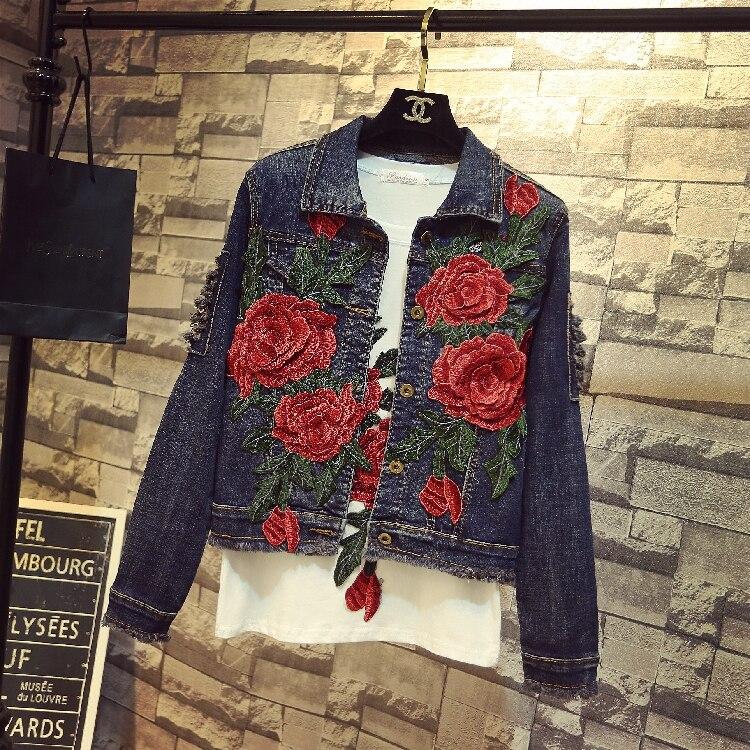 Novedad primavera otoño 2018, chaqueta de vaquero corto de color rojo rosa con bordado para mujer, abrigo ajustado de manga larga con agujeros, abrigos de tela vaquera azul oscuro, trajes