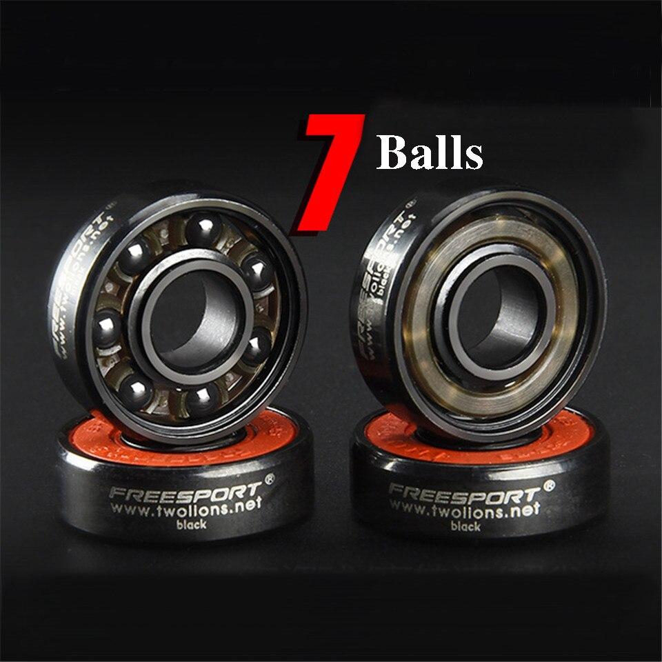 FreeSport 608 Rodamientos de cerámica negra 7 Bolas ABEC-9 de alta velocidad rodamiento Monopatín/LongBoard/patín en línea/HandSpinner Accesorios