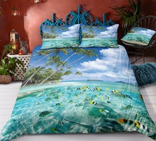 Fanaijia 3d Sea View Bedding Set King Size Cartoon Duvet Cover with Pillowcase Set Comforter Bed Set Boy's Gift