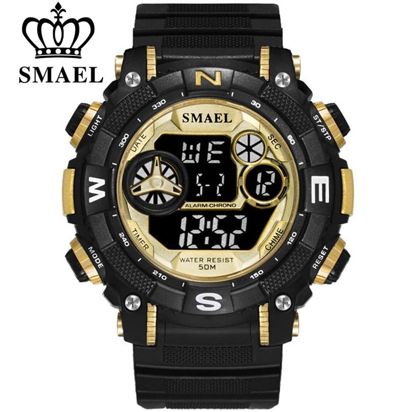 SMAEL Fashion Man Watches Life Waterproof Digital Quartz Wristwatch Stopwatch Chronograph Alarm Clock Analog Black Sport Watch