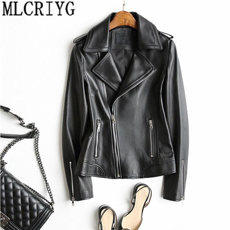 Женская куртка из натуральной кожи, мотоциклетная короткая куртка из натуральной овечьей кожи, демисезонные куртки из натуральной кожи, cuero genuino YQ243