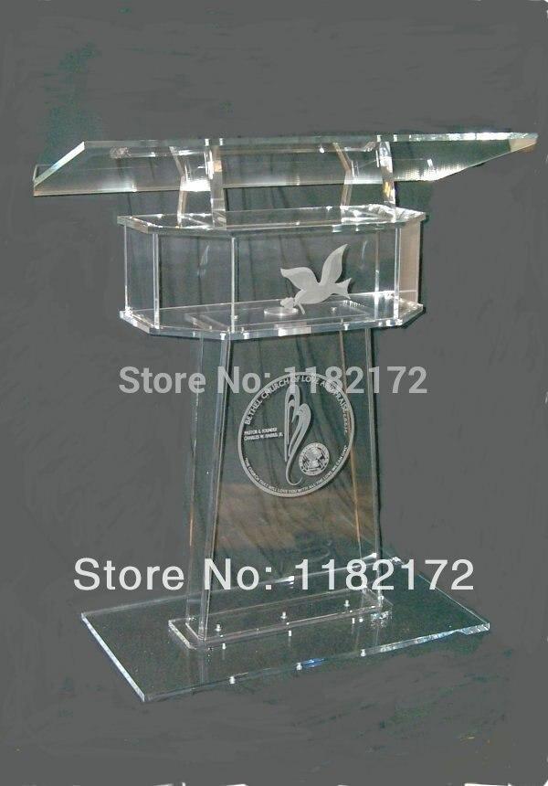 Livraison gratuite clair acrylique meubles pas cher design Unique offre spéciale et moderne acrylique podium pupitre pupitre acrylique podium