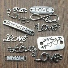 20 pcs / lot charmes amour connecteur Antique argent couleur amour connecteur pendentif charmes amour charmes connecteur pour la fabrication de bijoux