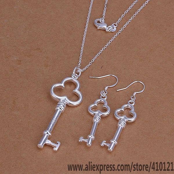 S200 conjuntos de joyería de alta calidad para aniversario, venta al por mayor, joyería 925, elegantes dijes de moda, collar de tres pendientes en forma de llave redonda