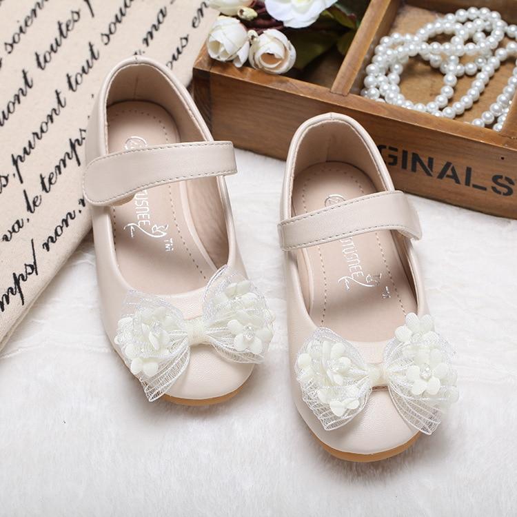حذاء أميرة من الجلد للبنات ، حذاء زفاف ، موضة كورية ، مع فيونكة زهور ، عصري ، خريف
