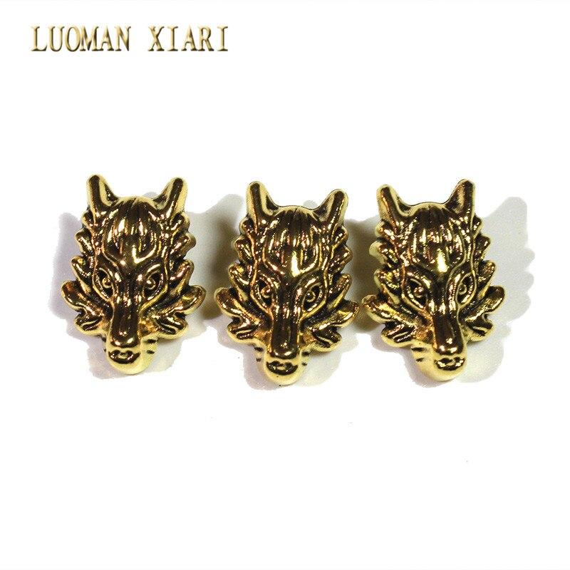 Venta al por mayor 10 piezas/20 piezas lote Vintage cabeza de dragón dorado aleación espaciadores cuentas abalorios DIY para joyería que hace la pulsera l 13*18mm