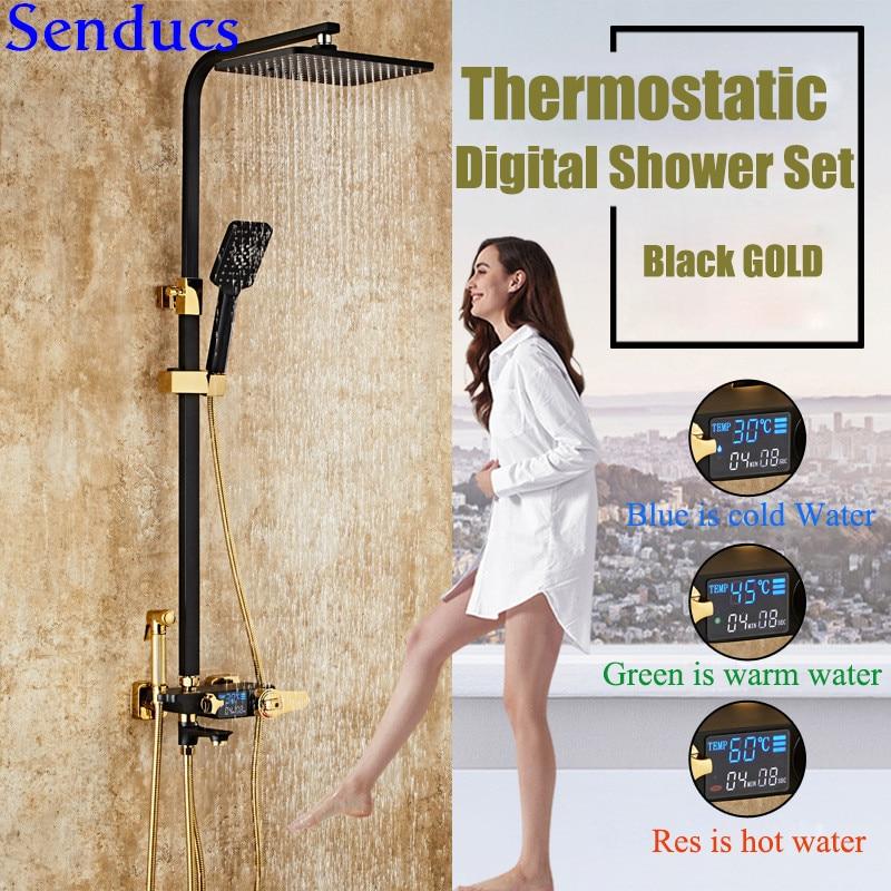 Senducs-مجموعة دش رقمية ، حنفية حمام نحاسية عالية الجودة ، خلاط حوض استحمام ، ثرموستاتي ، نظام دش رقمي أسود وذهبي