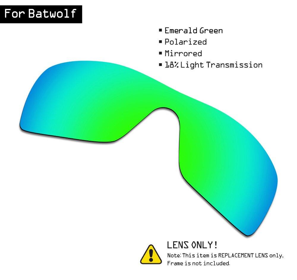 Smartvlt polarizado óculos de sol lentes de substituição para oakley batwolf-verde esmeralda