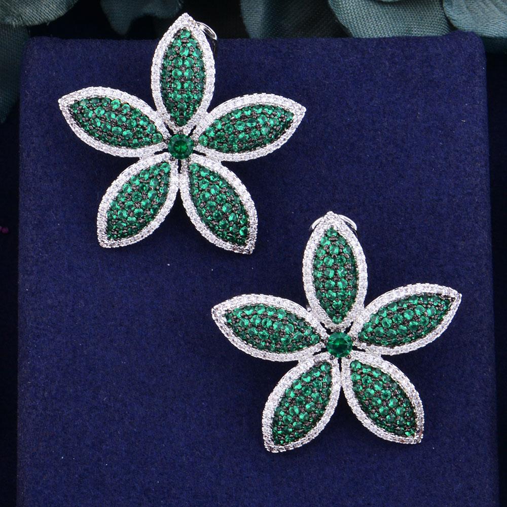 GODKI, gran tamaño, gran diseño floral, nueva moda, Popular, de lujo, Zirconia cúbica, compromiso, pendiente de tuerca para fiesta de boda