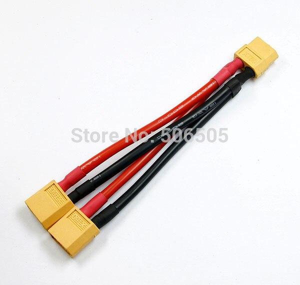 Envío gratis 10 CM 14awg silicona XT60 Cable conector paralelo extensión Y divisor XT60 Cable paralelo 5 unids/lote