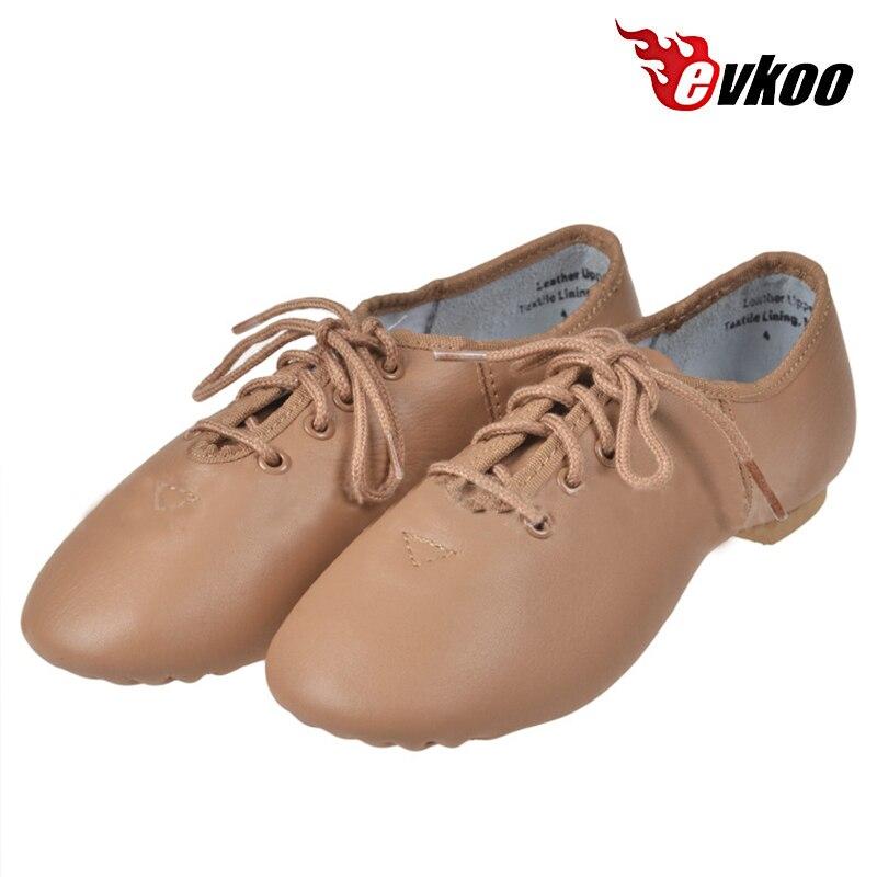 Evkoodance, color bronceado de cuero genuino negro, Zapatos de Baile de Jazz para mujeres, EJ-003