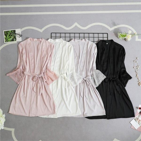 Женский Шелковый Атласный Короткий Ночной халат, однотонное кимоно, сексуальный кружевной банный халат, пеньюар, платье подружки невесты, модный Халат
