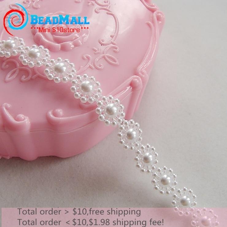 Frete grátis 10mm 25 m/lote cadeia pérolas de Imitação flatback flores de resina em forma de cadeia, ABS Marfim peal, jóias fazendo, DIY270081