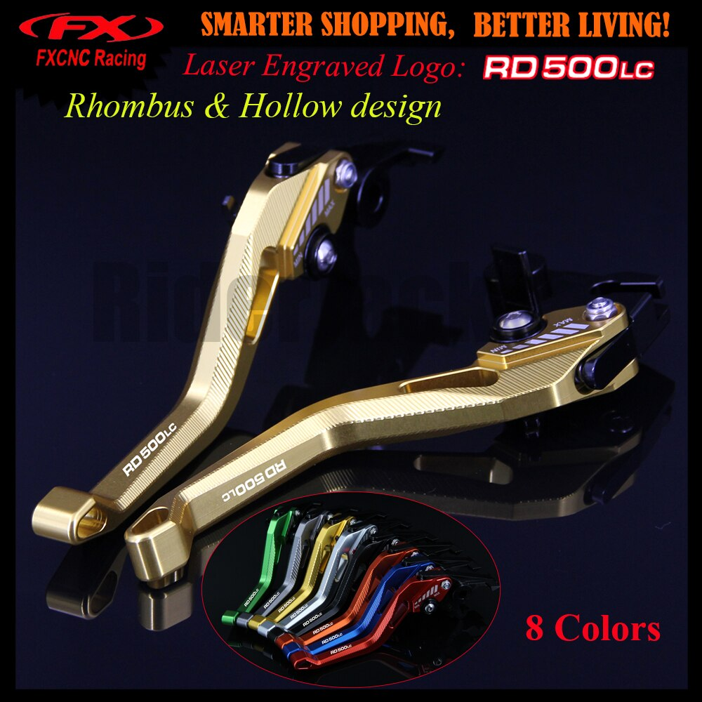 Palancas de embrague de freno de motocicleta doradas CNC diseño 3D hueco con forma de rombo patente negra para Yamaha RD500LC 500 LC todos los años