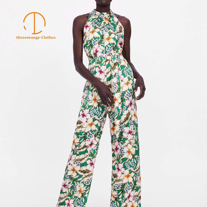 Summer jumpsuit women bohemian sun floral print sleeveless adjustable sash back slit design fashion Casual long jumpsuits femme