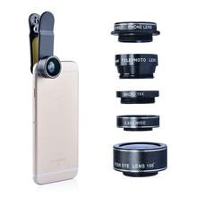 5 in 1 HD Smartphone Camera Fisheye Wide Angle Macro Lenses Kit CPL Mobile Phone Mini Camera Lens for iPhone Samsung Xiaomi