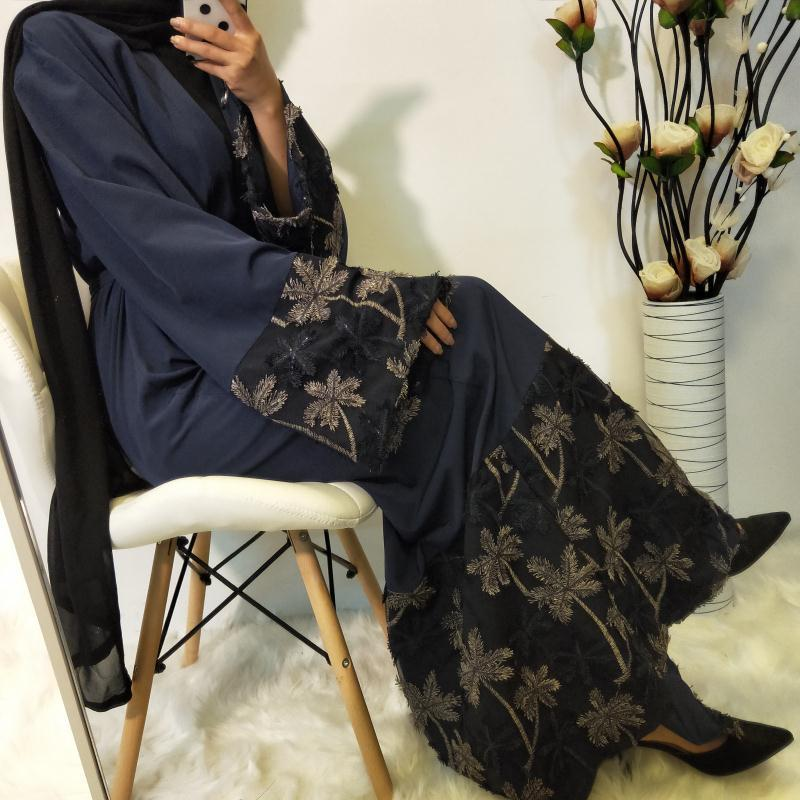 Elegante muslimah hit cor apliques rendas abaya turco comprimento total jilbab dubai feminino cardigan vestido islâmico wq1334 dropship