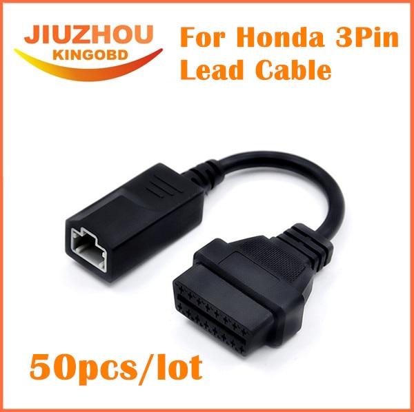 50pcs/Lot DHL Free shipping For Honda 3pin OBD1 Adapter OBD2 OBDII for Honda 3 pin to 16 pin Connector