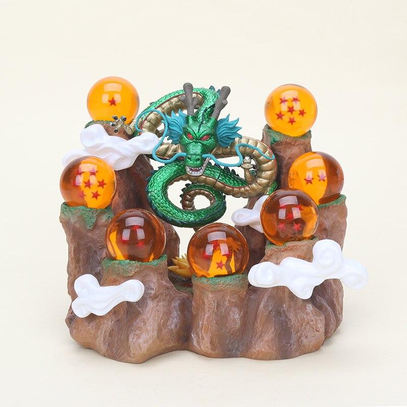 Fondo de 15cm Dragon Ball Z figura de juguete Son Goku Shenlong shenron bolas de cristal fondo de montaña PVC figuras en miniatura de juguete