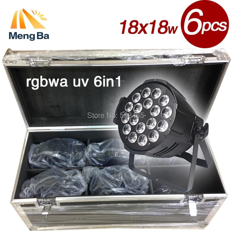 6 uds 18x18W luces Par LED rgbwa u carcasa de aleación de aluminio para fiesta KTV Disco DJ boda decoraciones de Navidad con caja de vuelo