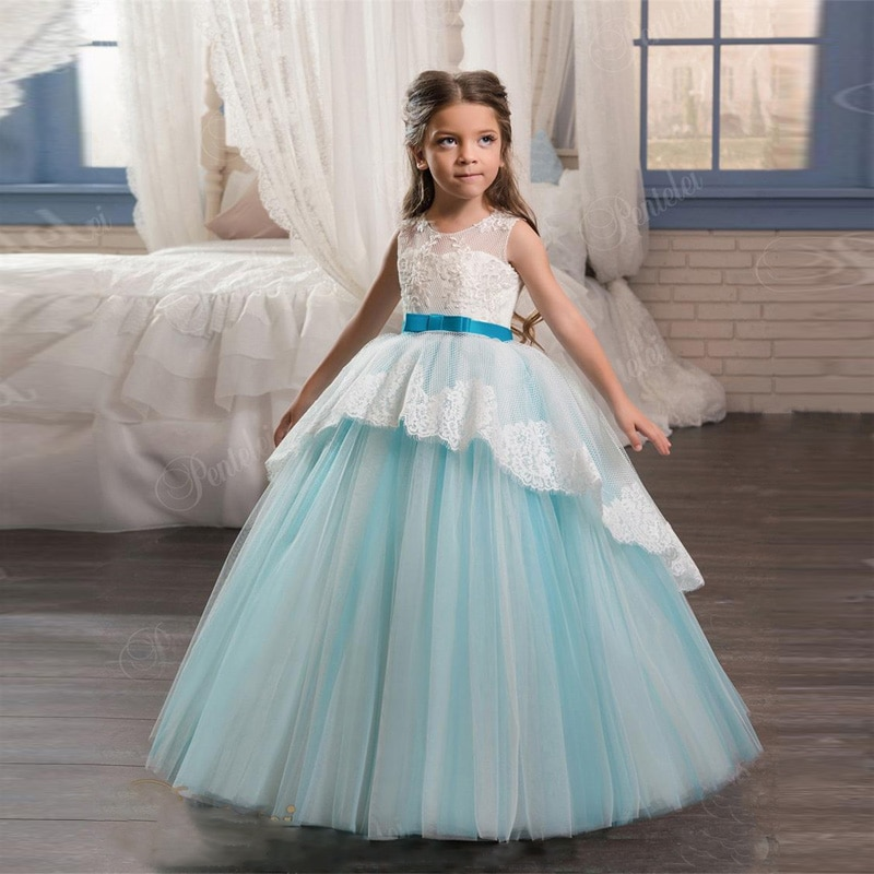 First Communion Dresses Lace Up Back and Bow Sash Appliques Tulle Sky Blue Flower Girls Gowns for Weddings Hot Sale High Quality enlarge